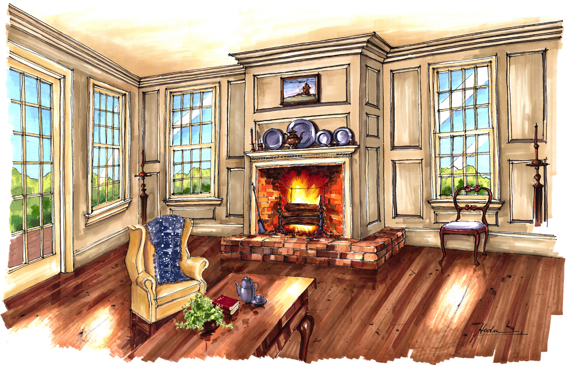 Classic Colonial Homes Living Room Design