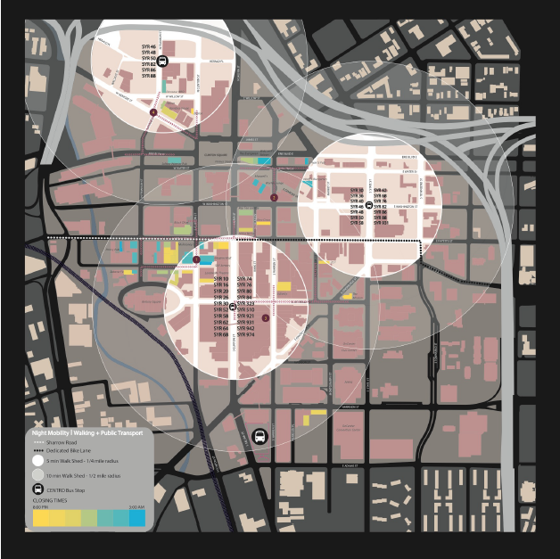 """Night-time mobility mapping in Downtown Syracuse.  (                      Normal   0           false   false   false     EN-US   X-NONE   AR-SA                                                                                                                                                                                                                                                                                                                                                                                                                                                                                                                                                                                                                                                                                                                                                                                                                                                                                     /* Style Definitions */ table.MsoNormalTable {mso-style-name:""""Table Normal""""; mso-tstyle-rowband-size:0; mso-tstyle-colband-size:0; mso-style-noshow:yes; mso-style-priority:99; mso-style-parent:""""""""; mso-padding-alt:0in 5.4pt 0in 5.4pt; mso-para-margin-top:0in; mso-para-margin-right:0in; mso-para-margin-bottom:8.0pt; mso-para-margin-left:0in; line-height:107%; mso-pagination:widow-orphan; font-size:11.0pt; font-family:""""Calibri"""",sans-serif; mso-ascii-font-family:Calibri; mso-ascii-theme-font:minor-latin; mso-hansi-font-family:Calibri; mso-hansi-theme-font:minor-latin;}     Rakha, T.and Martinez, C. """"Human-powered Mobility Programming Needs in Mid-sized US Cities: the Case of Syracuse NY,"""" In Proceedings of PLEA 2017, 02-05 July, Edinburgh: Scotland.)"""