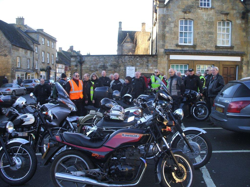 Gathering in The Square in Chipping Campden for a Sunday Run