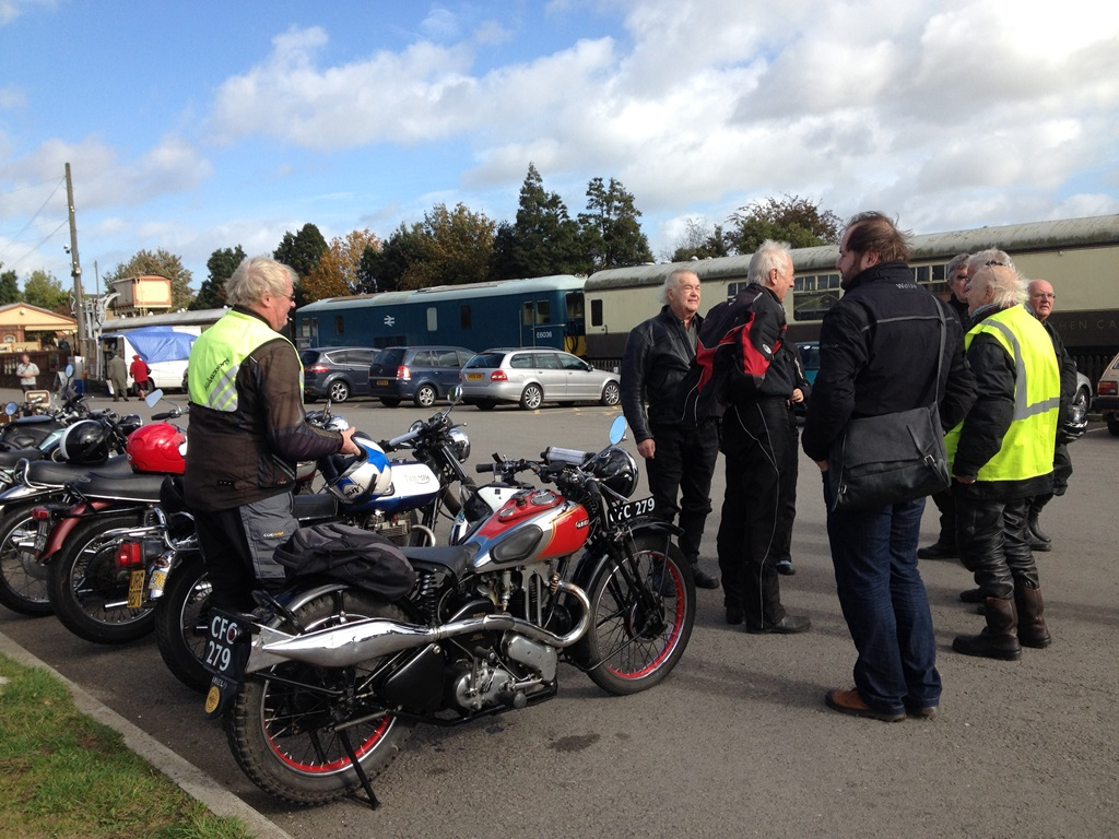 Our bikes looking the part alongside the historic trains at Toddington.