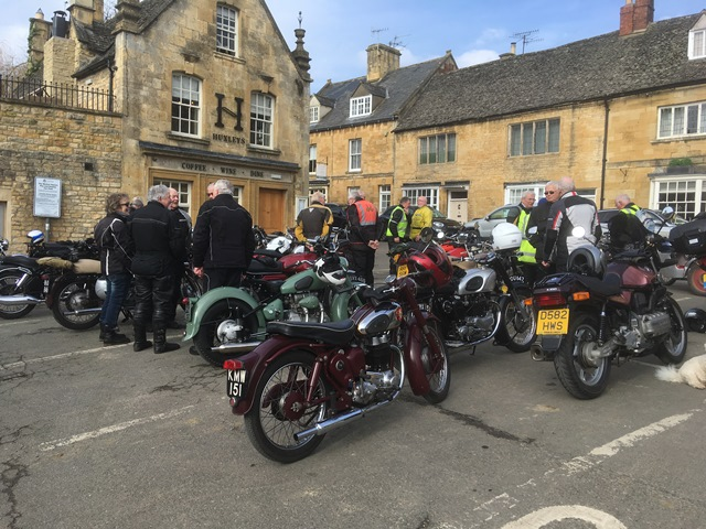 Gathering in the Square in Chipping Campden for the March Hare Run.