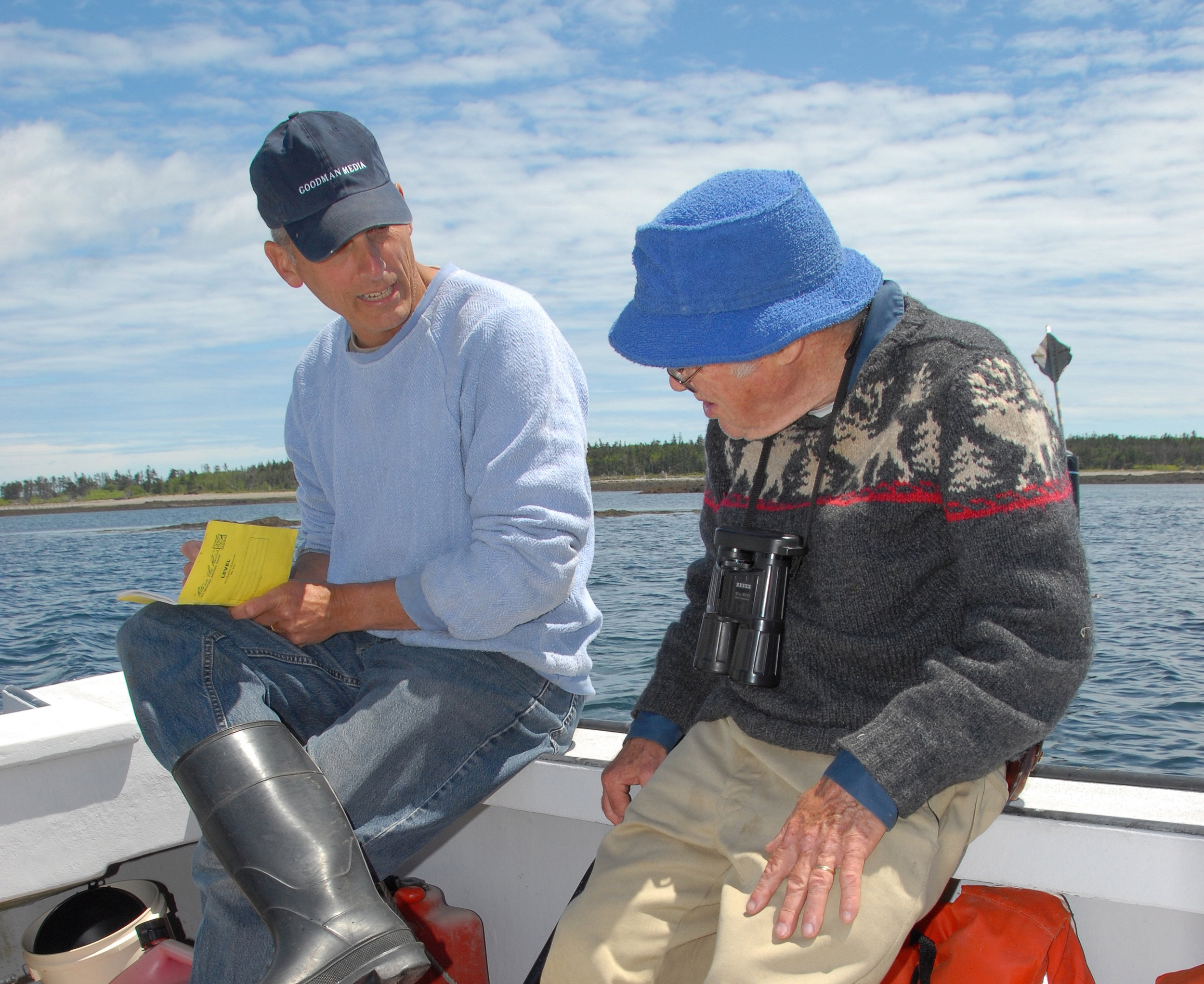 Two authors and Kent Island Directors in 2007, Bob Mauck (L) and Chuck Huntington. Photo by another Kent Island Director, Ed Minot.