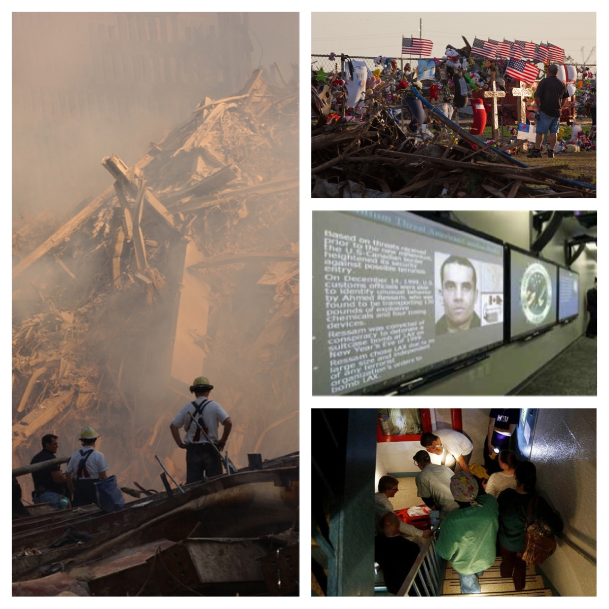Photo Credit Left:Andrea Booher - Sep 12, 2001 , FEMA; Top Right:Andrea Booher - May 29, 2013, FEMA; Right Middle: FEMA Guardian Accord; Right Bottom: Hurricane Sandy