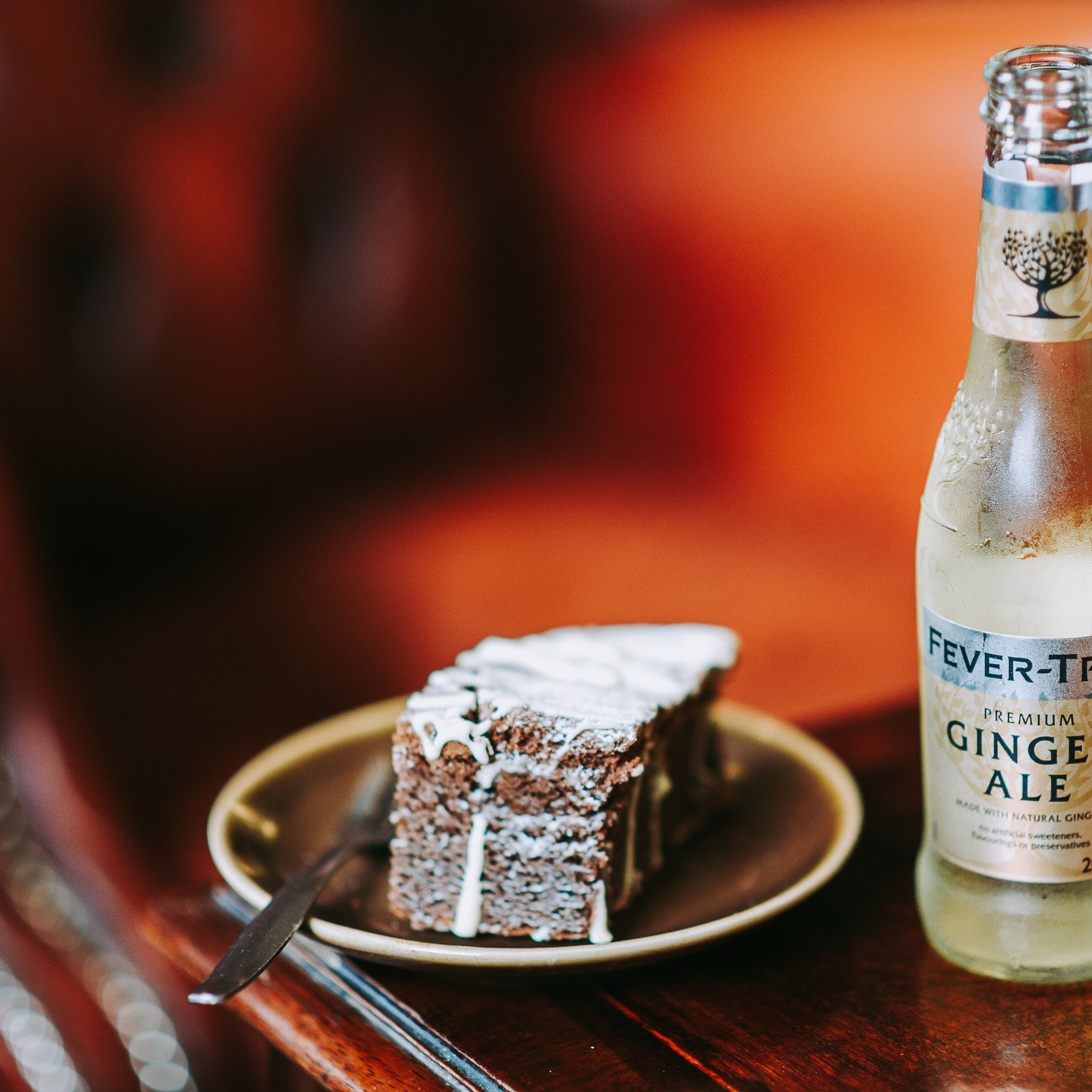 Pub Food Fever Tree drink with a slice of cake