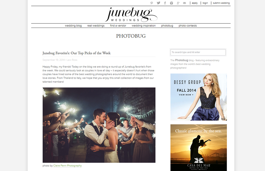 Junebug Weddings — Top Pick of the Week — Sept 2014