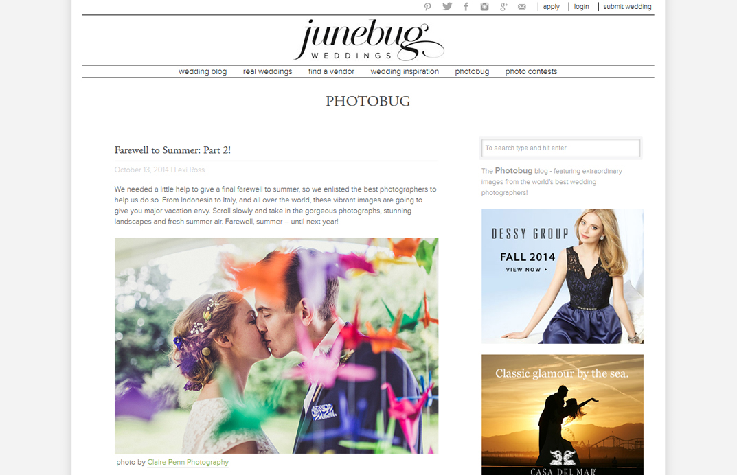 Junebug Weddings — Farewell to Summer — Oct 2014