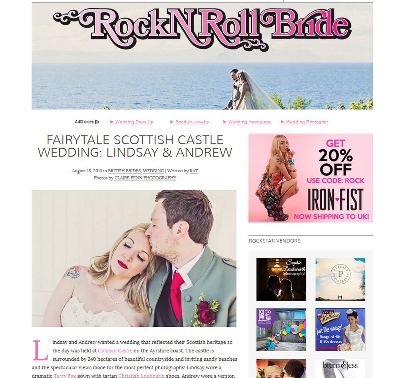 Rock & Roll Bride — Lindsey & Andrew's wedding at Culzean Castle Scotland — Aug 2013