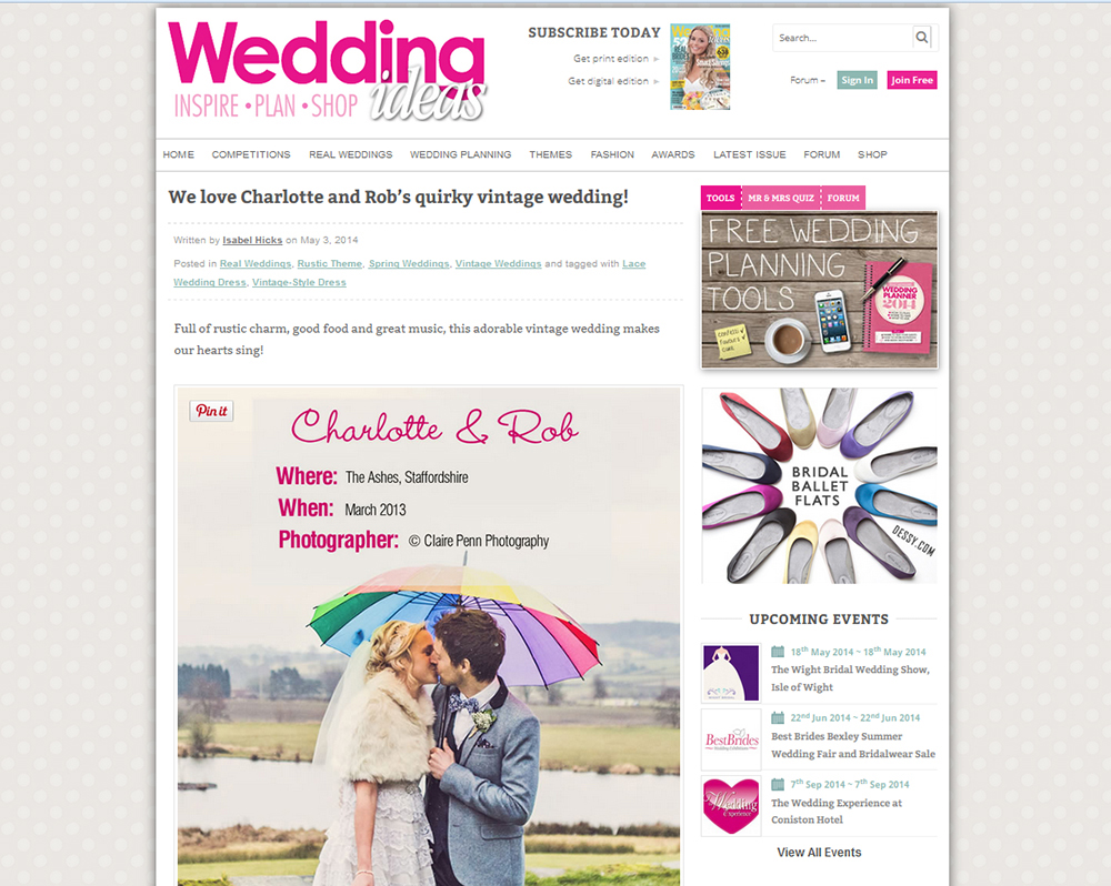 Wedding Ideas — Online feature; Charlotte & Rob's Wedding at The Ashes — May 2014