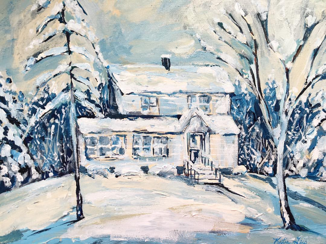 Commissioned painting of client's first home used as gift to husband. Artwork by Katie Geis