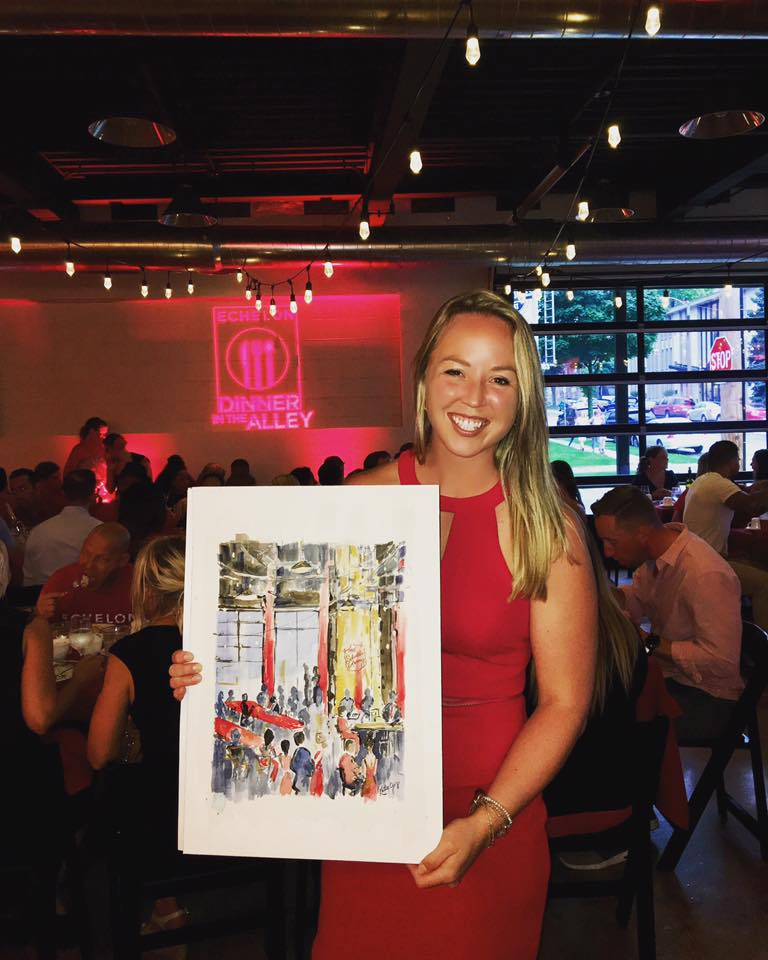 Katie Geis painting for Echelon MKE in support of Salvation Army - Live Artist