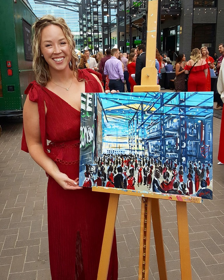 Live Event Painting by Katie Geis for Dinner in the Alley with Echelon, Milwaukee
