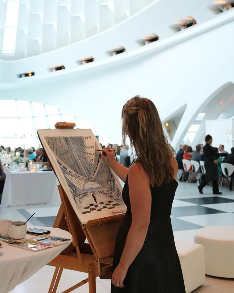 Live Event Painting by Katie Geis at the Milwaukee Art Museum, Wisconsin