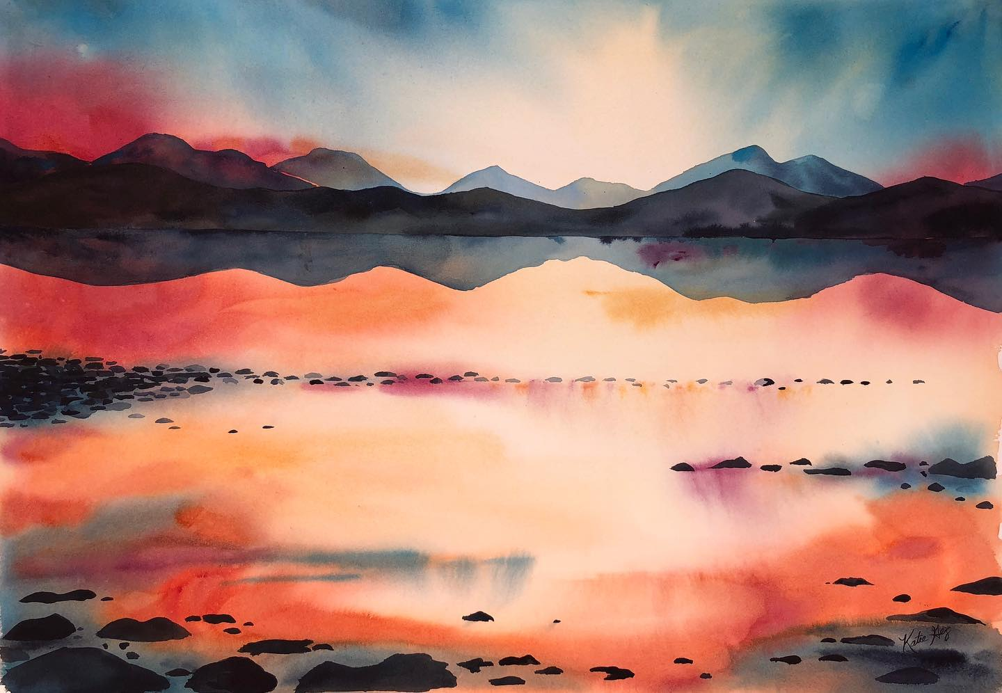 Lake Tahoe Watercolor by Katie Geis