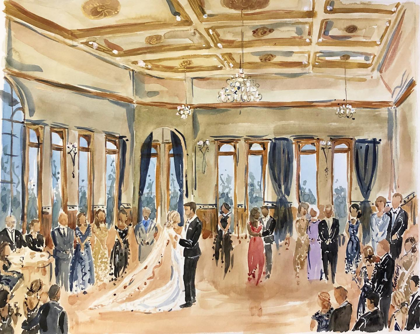 Live Event Painting by Katie Geis Historic Courthouse 1893, Waukesha, Wisconsin