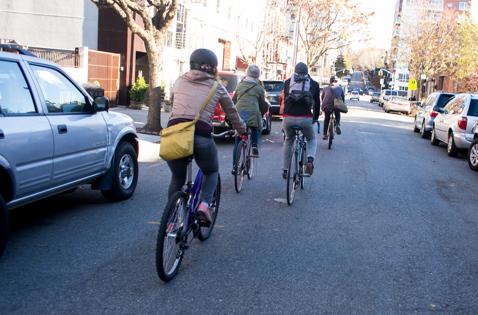 Biking is much more feasible within Brooklyn's wide streets.
