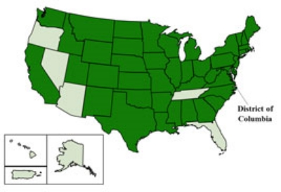 Map of all states with reported cases (dark green) of the virus as of September 25, 2014. North Carolina is one of those state. Photo credit Centers for Disease Control and Prevention.