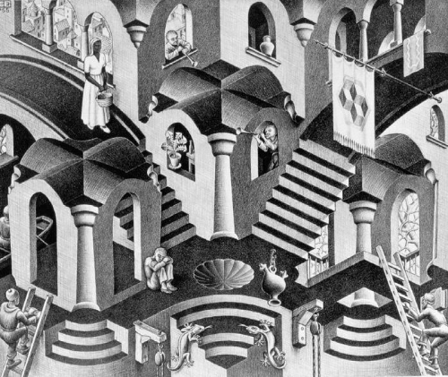 """""""Convex and Concave"""" by Official M. C. Escher website. Licensed under Fair use via Wikipedia."""