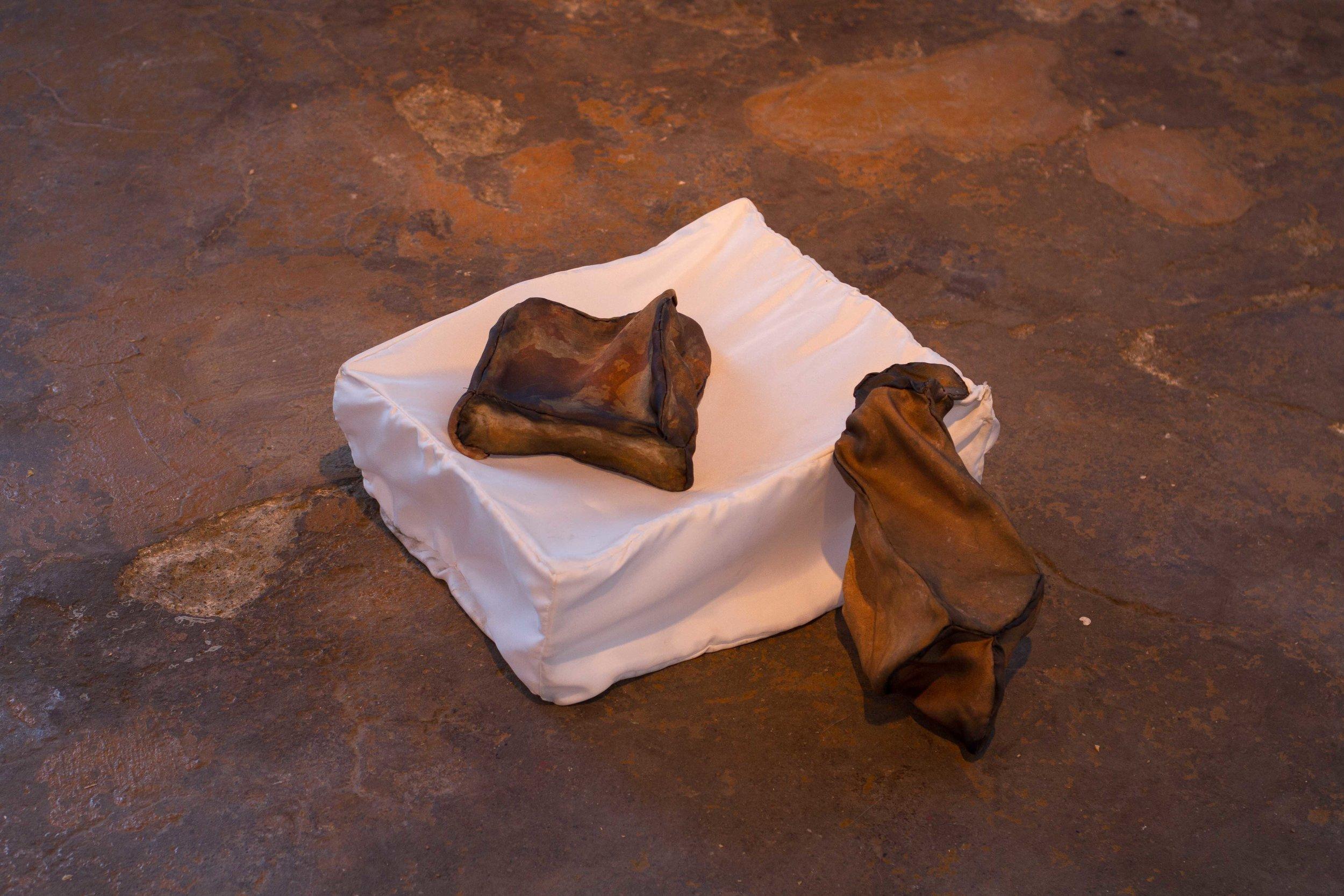 Untitled, Rocks and Pedestal , silk, steel
