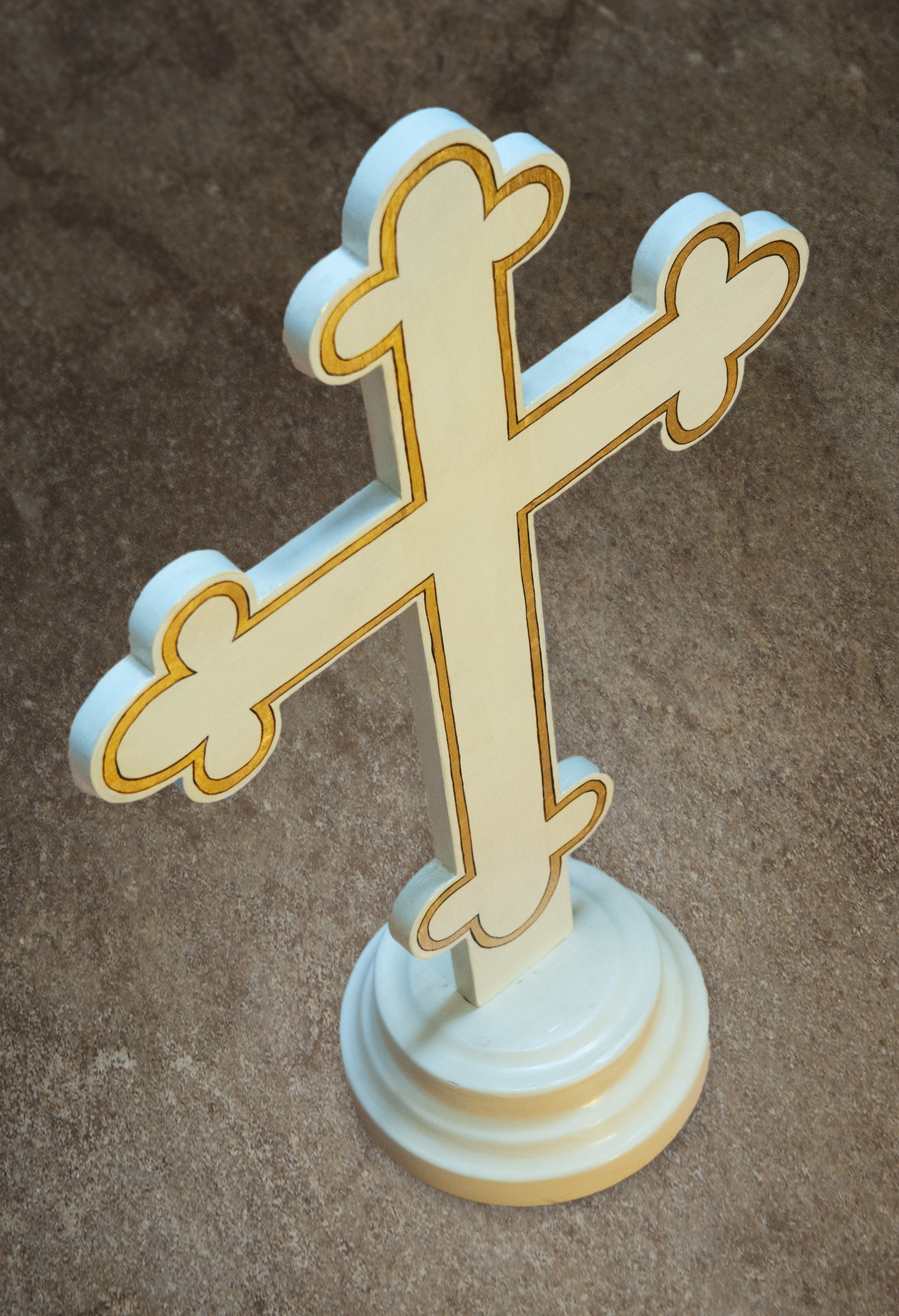 A white cross used in traditional Orthodox burial services.