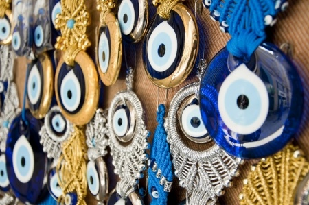 The most commonly accepted means of protection against the Evil Eye are numerous evil eye talismans and symbols made into jewelry and sold on the open market.