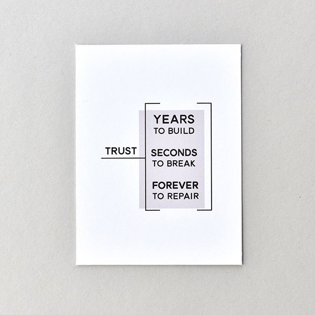 Trust // Years to Build, Seconds to Break, Forever to Repair. Ain't that the truth?! . TRUST collection (link in profile)