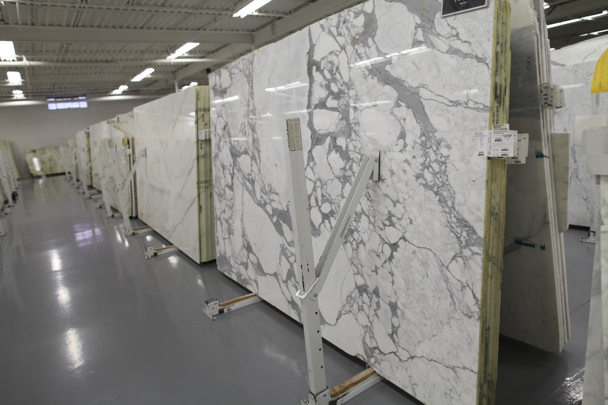 Calacatta marble at Olympia Tile & Slab.