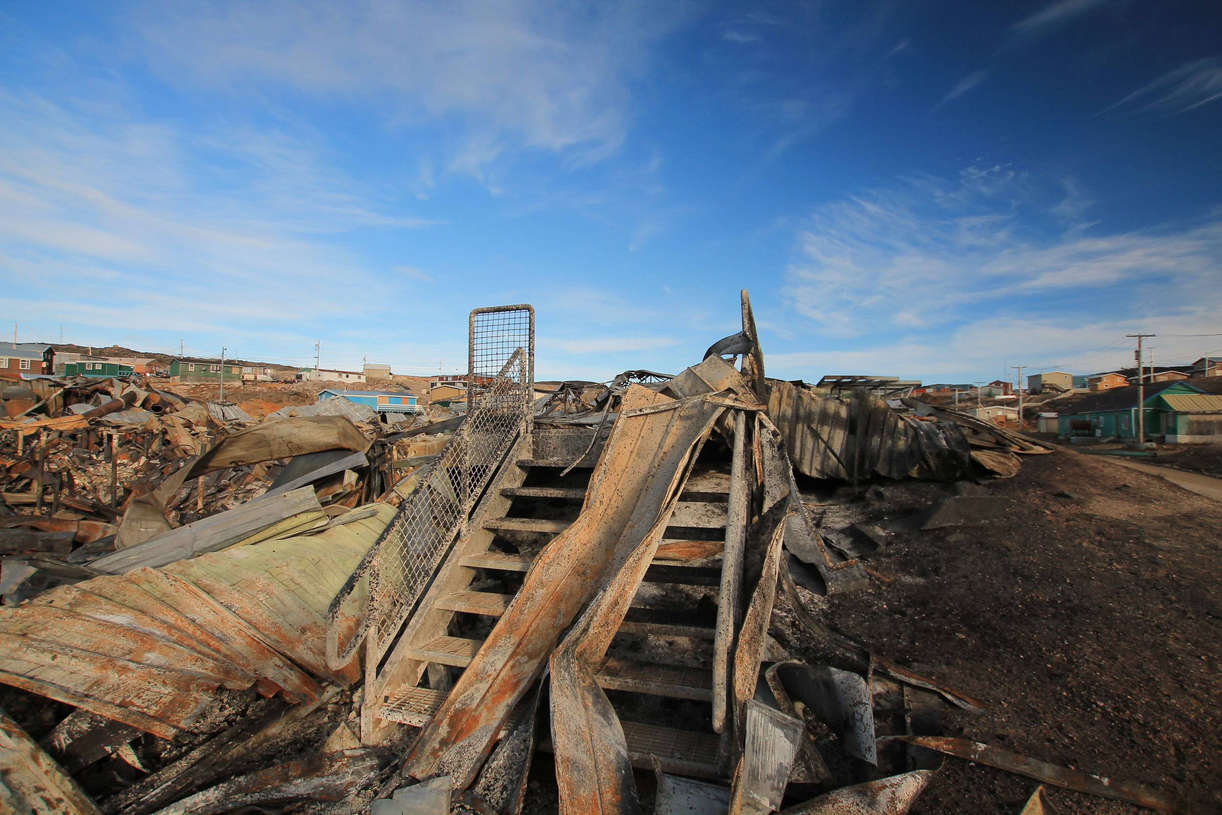 Peter Pitseolak School after the fire.  Photo Joseph Pinguartuk