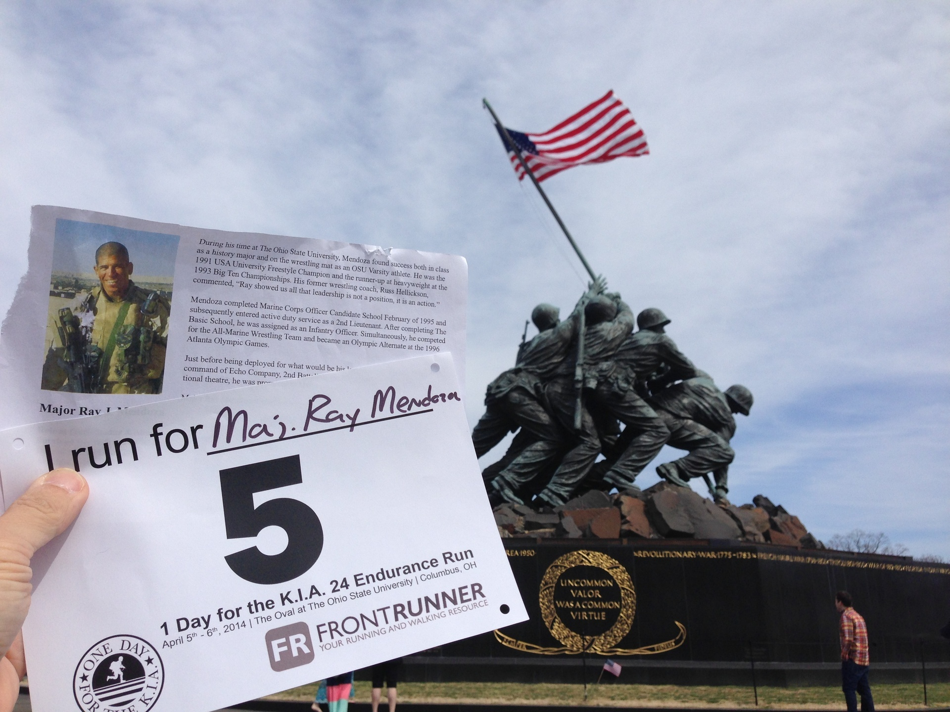 """Richard Zanfardino ran for Major Ray Mendoza (honored in our memorial section).  """"It seemed fitting to do my virtual run at this location to honor Maj. Mendoza."""""""