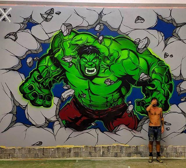 @tark_mbts • • • • • Big commission 😤😤 - - - - - - - - #tark #modernbrutality #mbts #graffitiitaly #graffiti #writing #wallporn #graffporn #work #commission #hulk #marvel #colors #mtn94 #ravenna #picoftheday