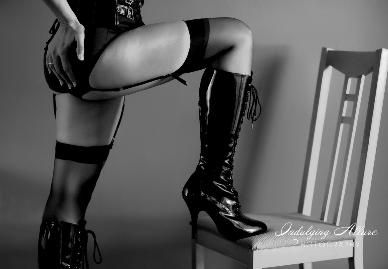 Badass-sexy-boudoir photo-in-black-leather-knee high-stiletto boots.jpg
