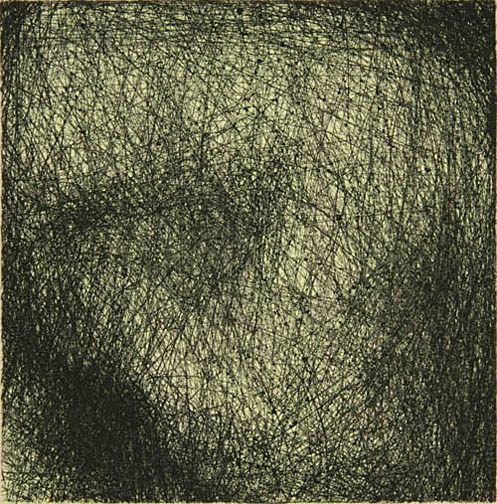 """Skin Flicks 507-3---ink and carbon black on paper----paper size 18"""" x 14.5"""" image size 4"""" x 4"""""""