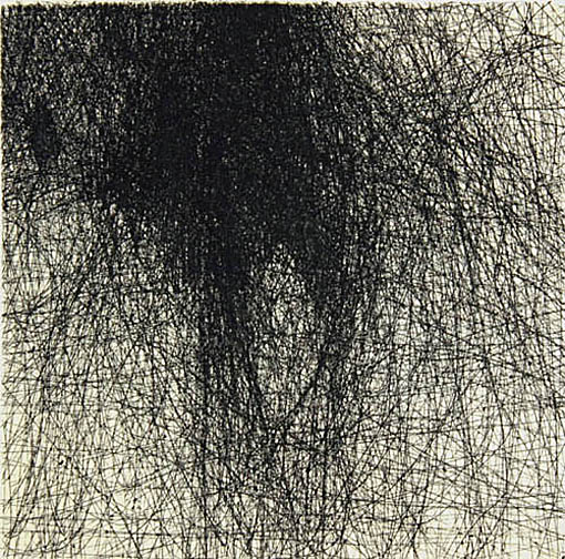 """Skin Flicks 507-12---ink and carbon black on paper----paper size 18"""" x 14.5"""" image size 4"""" x 4"""""""