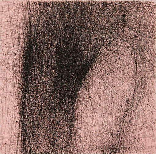 """Skin Flicks 607-3---ink and carbon black on paper----paper size 18"""" x 14.5"""" image size 4"""" x 4"""""""