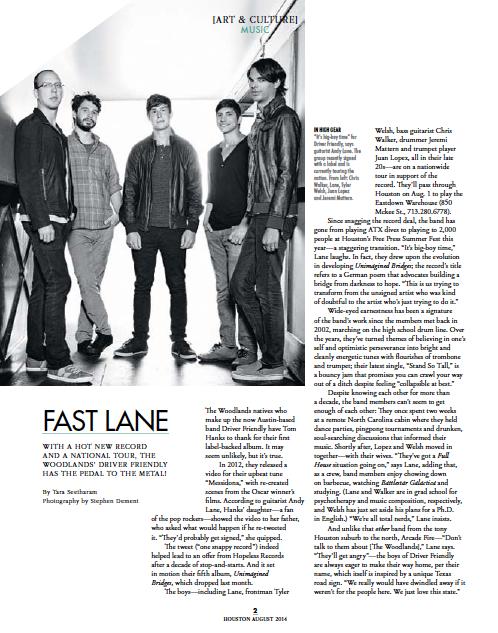 Fast Lane: Driver Friendly  Houston magazine - August 2014
