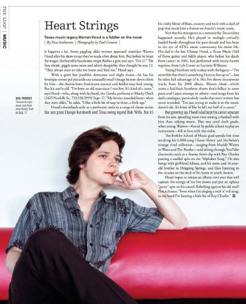 Heart Strings: Warren Hood  Houston magazine - September 2010