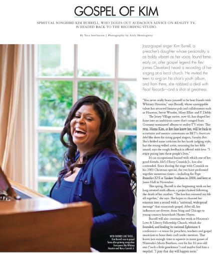 Gospel of Kim: Kim Burrell  Houston magazine - April 2014