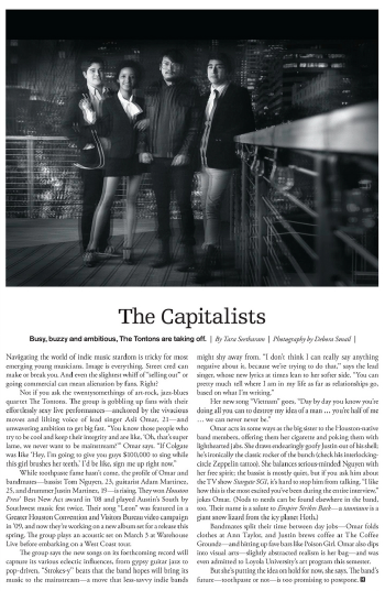 The Capitalists: The TonTons  Houston magazine - March 2011