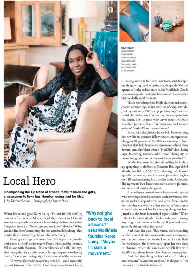 Local Hero: Karee Lang  Houston magazine - January 2013