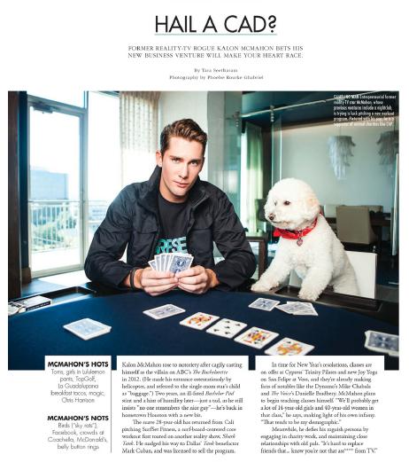Hale a Cad?: Kalon McMahon  Houston magazine - January 2014