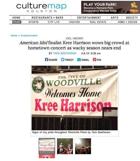 """American Idol"" finalist Kree Harrison wows big crowd at hometown concert as wacky season nears end  CultureMap - May 8, 2013"