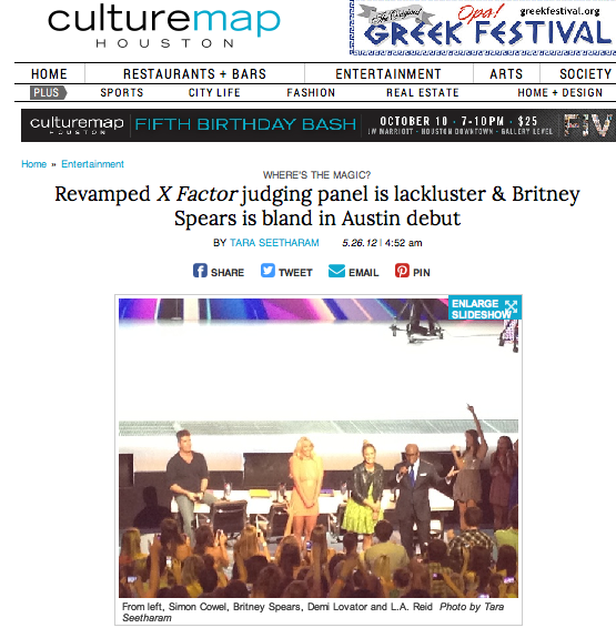 "Revamped ""X Factor"" judging panel is lackluster and Britney Spears is bland in Austin debut  CultureMap - May 26, 2012"