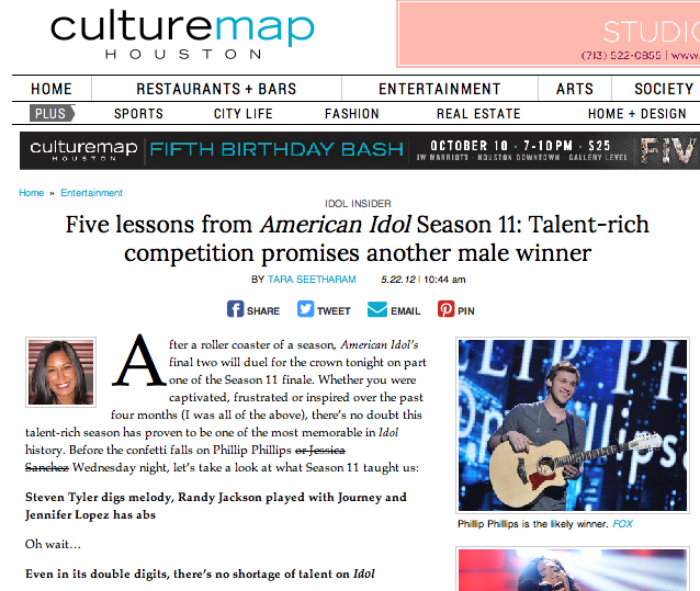 "Five lessons from ""American Idol"" Season 11: Talent-rich competition promises another male winner  CultureMap - May 22, 2012"