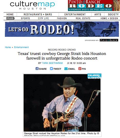 Texas' truest cowboy George Strait bids Houston farewell in unforgettable Rodeo concert  CultureMap - March 18, 2013