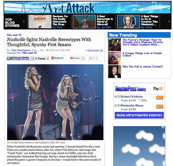 """""""Nashville"""" fights Nashville stereotypes with thoughtful, spunky first season  Houston Press - April 29, 2013"""