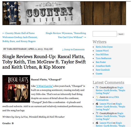 Single reviews round-up: Rascal Flatts, Toby Keith, Tim McGraw ft. Taylor Swift and Keith Urban, & Kip Moore  Country Universe - April 11, 2013