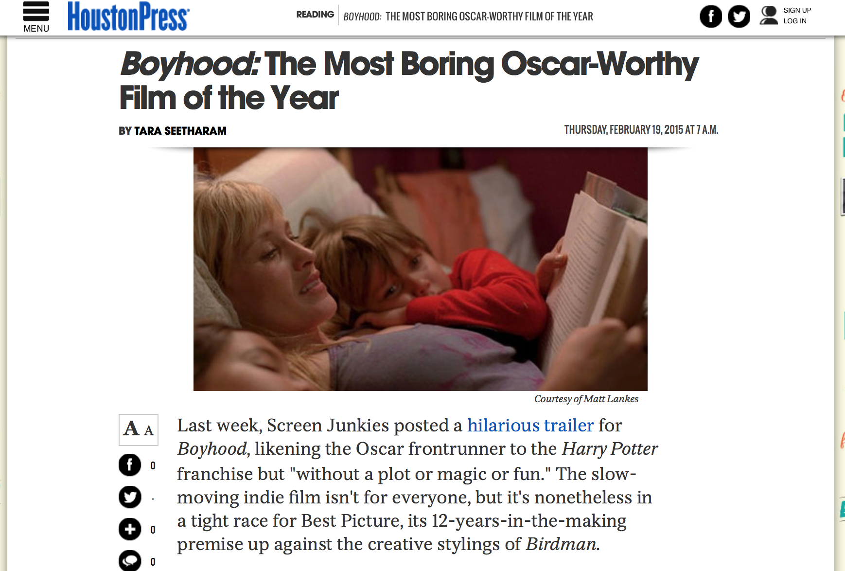 """Boyhood"": The most boring Oscar-worthy film of the year  Houston Press - February 19, 2015"