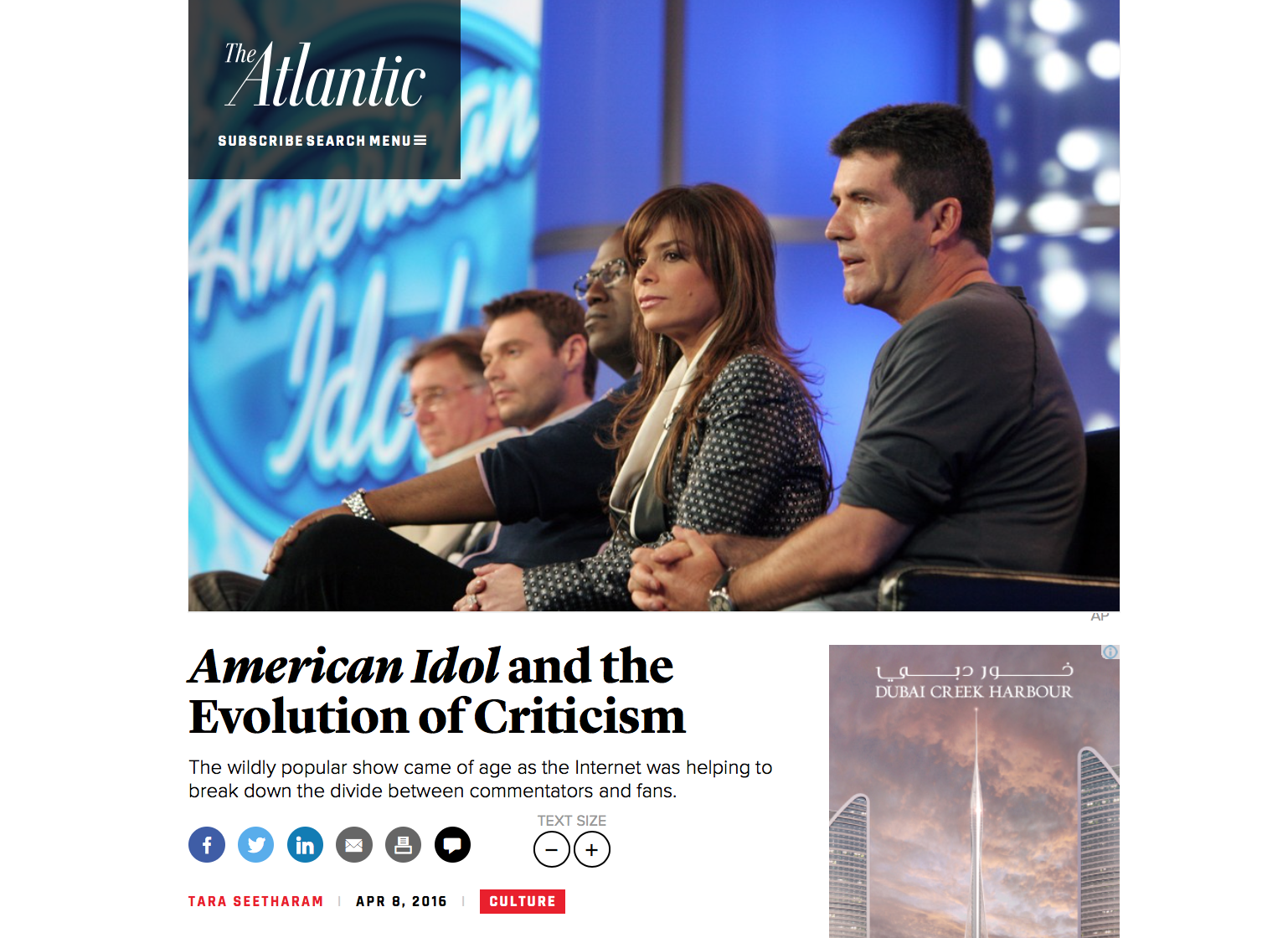 """American Idol"" and the evolution of criticism   The Atlantic - April 8, 2016"