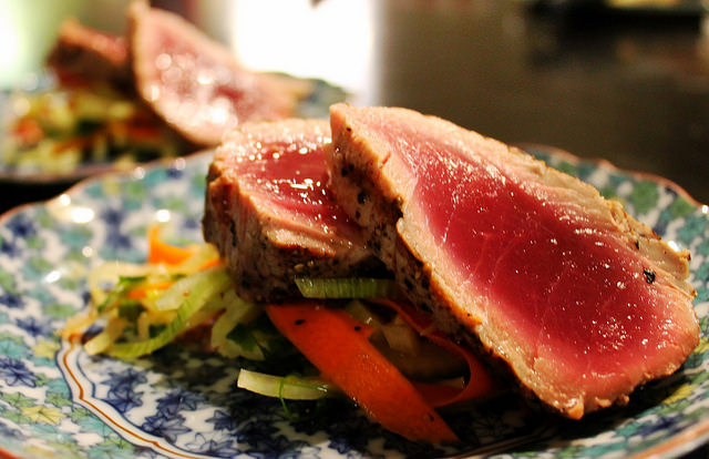 Seared Ahi over salad of fennel and carrots