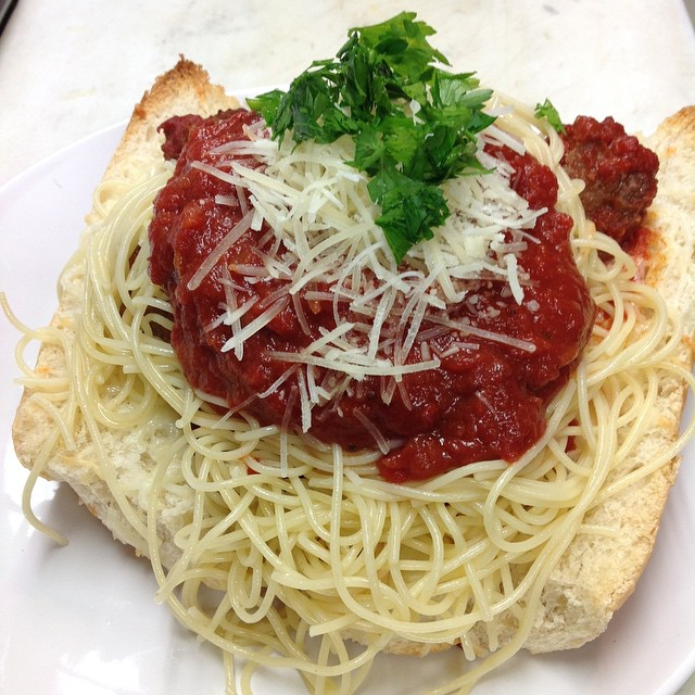 All American Gut Bomb...Spaghetti and Meatball Sandwich
