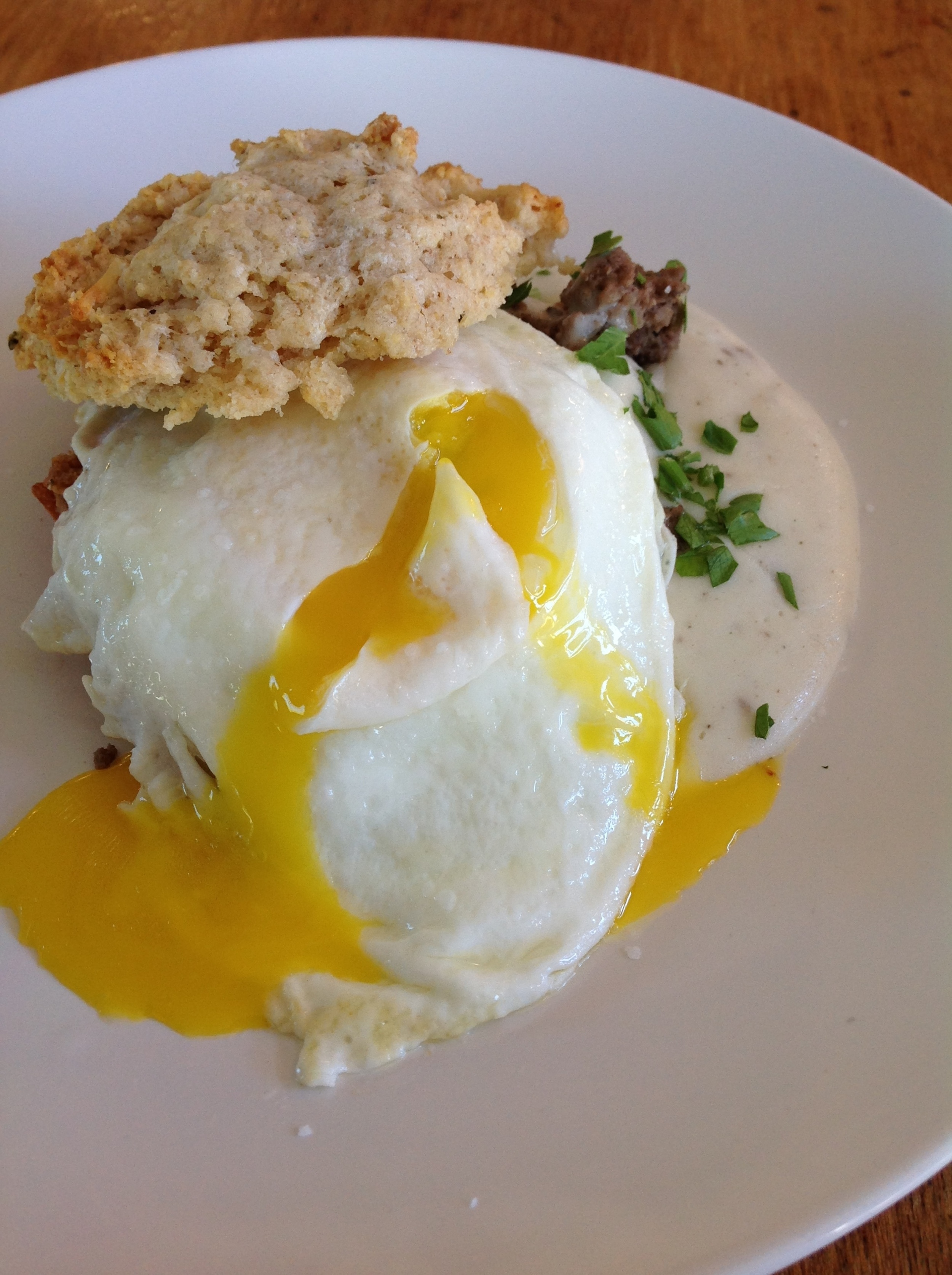 Scones and Gravy with a runny egg